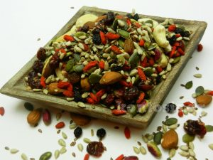 energy mix with dried nuts, dried fruits and super foods