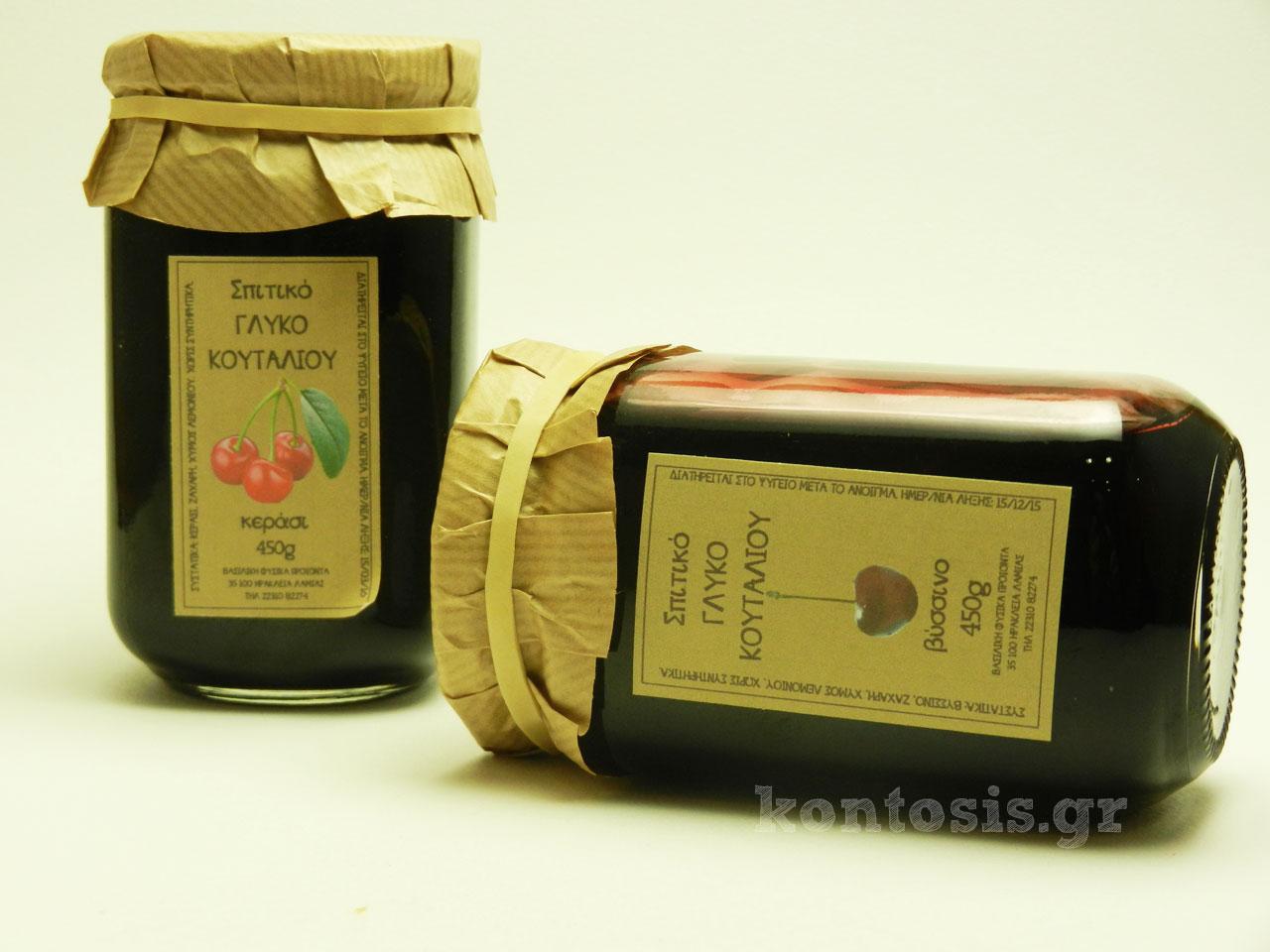 Σπιτικά γλυκά του κουταλιού βύσσινο και κεράσι