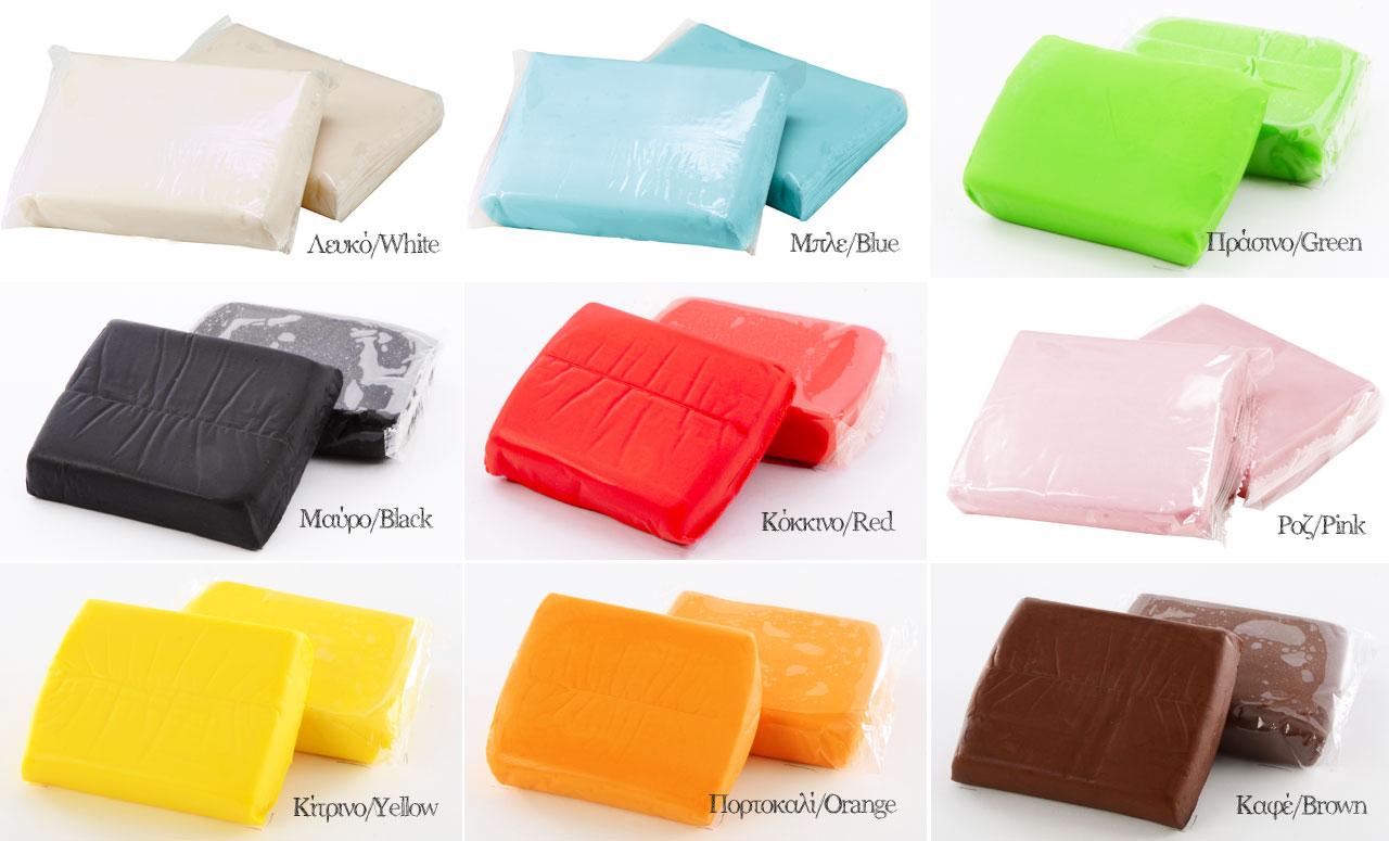 Περιεχόμενο συσκευασίας ζαχαρόπαστα σε πολλά χρώματα