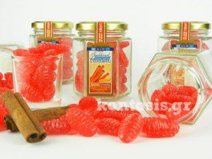 Καραμέλες σε γυάλινο βαζάκι με γεύση και άρωμα κανέλας