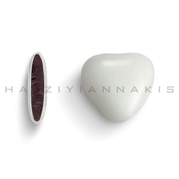 heart praline with sugar coating-medium-white polished or matte