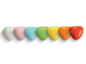 heart praline with sugar coating-medium-multi-colors polished