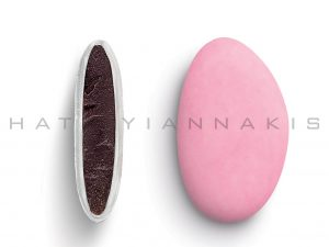 chocolate (70% cocoa) with a thin of sugar coating-lightt pink