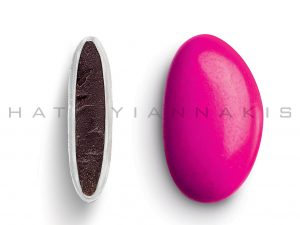 chocolate (70% cocoa) with a thin of sugar coating-fuchsia