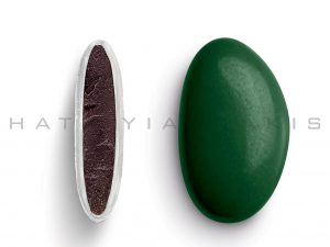 chocolate (70% cocoa) with a thin layer of sugar coating-dark green