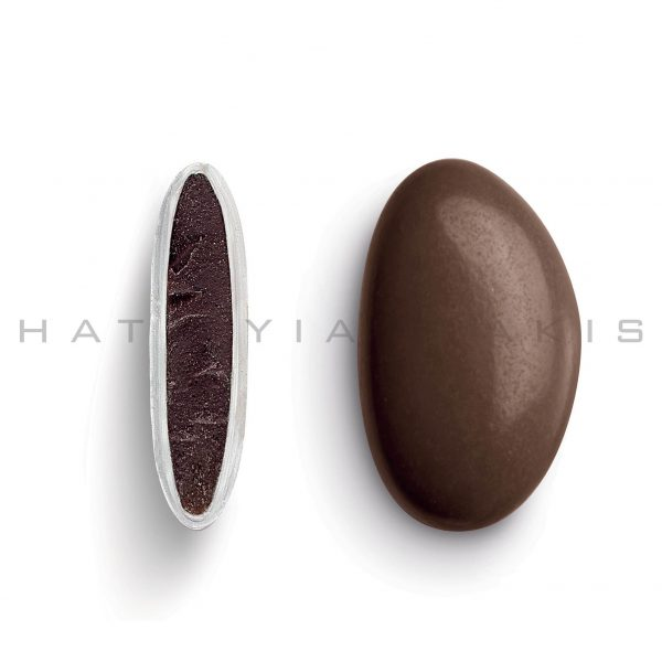 chocolate (70% cocoa) with a thin layer of sugar coating-chocolate brown