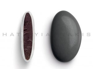 chocolate (70% cocoa) with a thin layer of sugar coating-dark grey