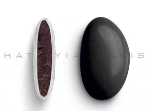 chocolate (70% cocoa) with a thin layer of sugar coating-black polished