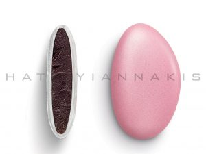 chocolate (70% cocoa) with a thin layer of sugar coating-light pink pearlescent