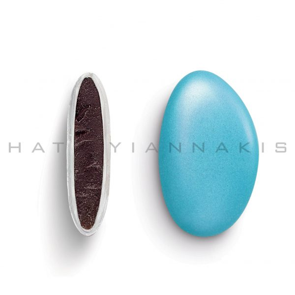 chocolate (70% cocoa) with a thin layer of sugar coating-light blue pearlescent