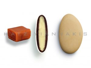 white chocolate & chocolate (55% cocoa) with a thin layer of sugar coating-caramel taste