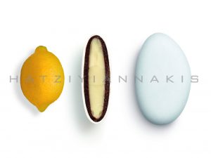 white chocolate & chocolate (55% cocoa) with a thin layer of sugar coating-lemon taste