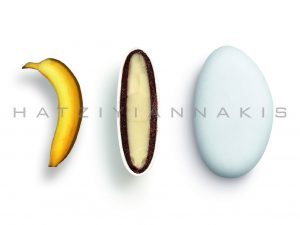 white chocolate & chocolate (55% cocoa) with a thin layer of sugar coating-banana taste