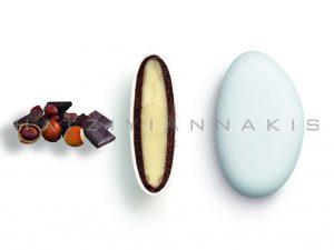 white chocolate & chocolate (55% cocoa) with a thin layer of sugar coating-gianduia taste